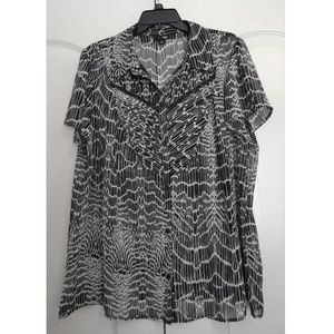 East 5th Sheer Semi Black/White Blouse Top Size 2X